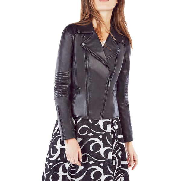 BCBGMAXAZRIA Lila Black Leather Moto Jacket (Size Small)