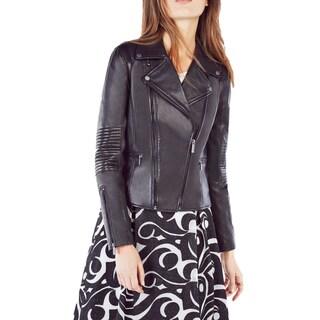 BCBGMAXAZRIA Lila Black Leather Moto Jacket (Size Small)