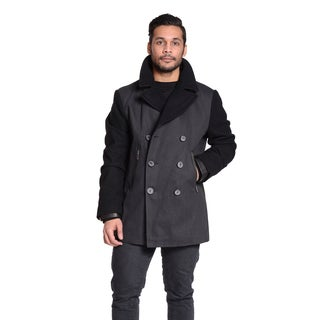 Excelled Men's Denim Wool Double Breasted Peacoat