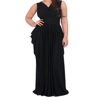 Koh Koh Women's Plus Size Sleeveless V-Neck Elegant Full Length Pleated Maxi Dress
