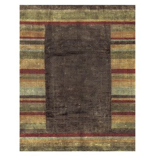 Grand Bazaar Keystone Multicolored Wool and Art Silk Hand-knotted Rug (8'6 x 11'6)