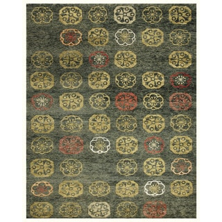 Grand Bazaar Hand-knotted Wool and Art Silk Qing Rug in Loden (8'6 x 11'6)