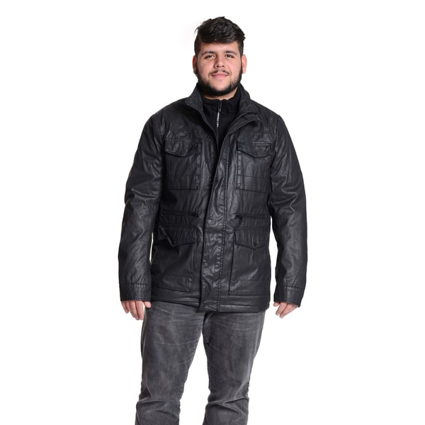 Excelled Men's Six Pocket Coated Cotton Black Jacket