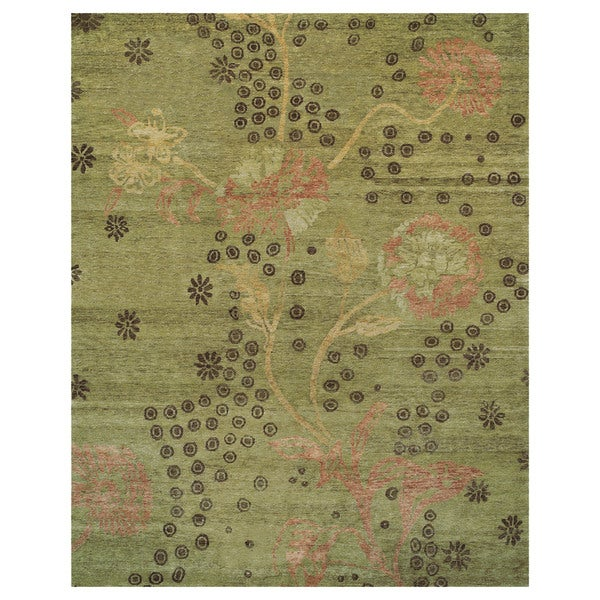 Grand Bazaar Cordonnet Green Wool Hand-knotted Rug (4' x 6')