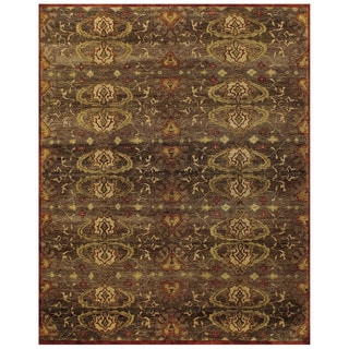 Grand Bazaar Hand-knotted 100-percent Wool Pile Amzad Rug in Brown (8'6 x 11'6)