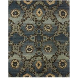 Grand Bazaar Amzad Azure Wool Hand-knotted Rug (8'6 x 11'6)