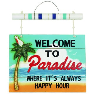 RAM Game Room 'Welcome to Paradise' Hanging Outdoor Wall Decor