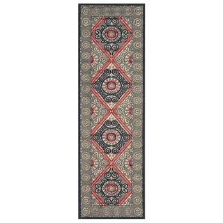 Feizy Wells Cream Charcoal Power-loomed Runner Rug (2'6 x 8' )