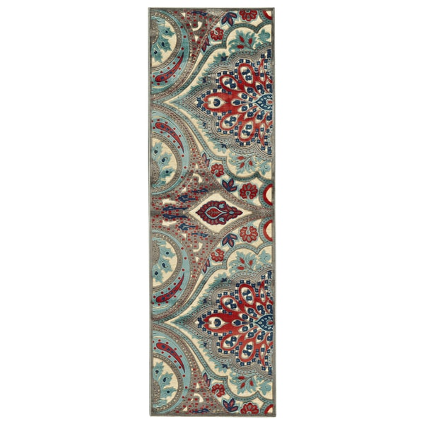 Feizy Wells Cream Nutmeg Paisley Power-loomed Runner Rug (2'6 x 8' )