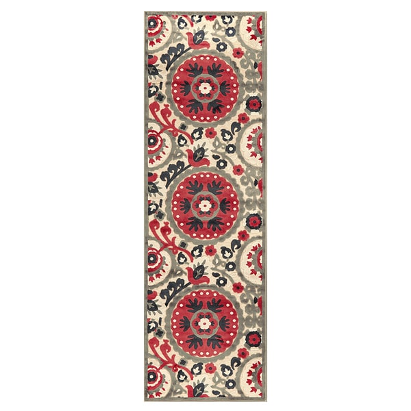Feizy Wells Cream Nutmeg Power-loomed Runner Rug (2'6 x 8' )