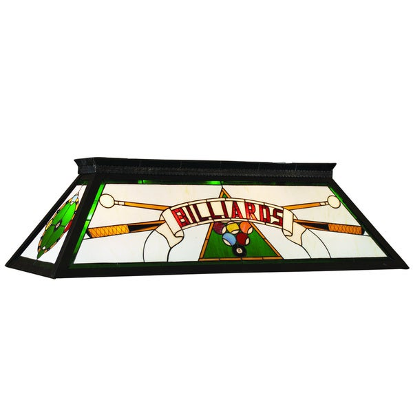 Green 4-Light Stained Glass Billiard Fixture