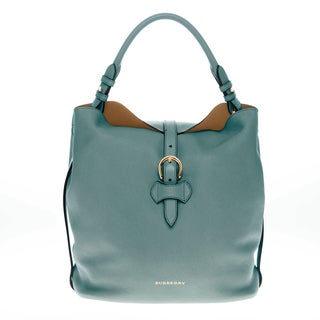 Burberry Medium Buckle Detail Grained Leather Hobo Bag
