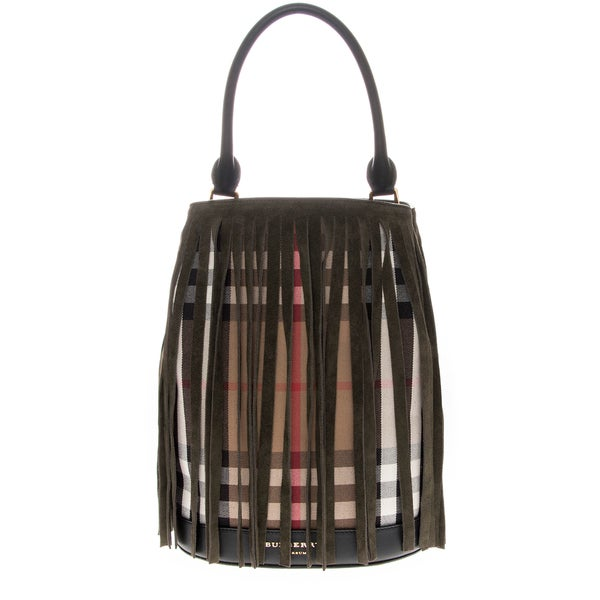 Burberry Bucket Bag in House Check and Fringing