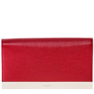 Saint Laurent Lutetia Red Grained Leather Clutch