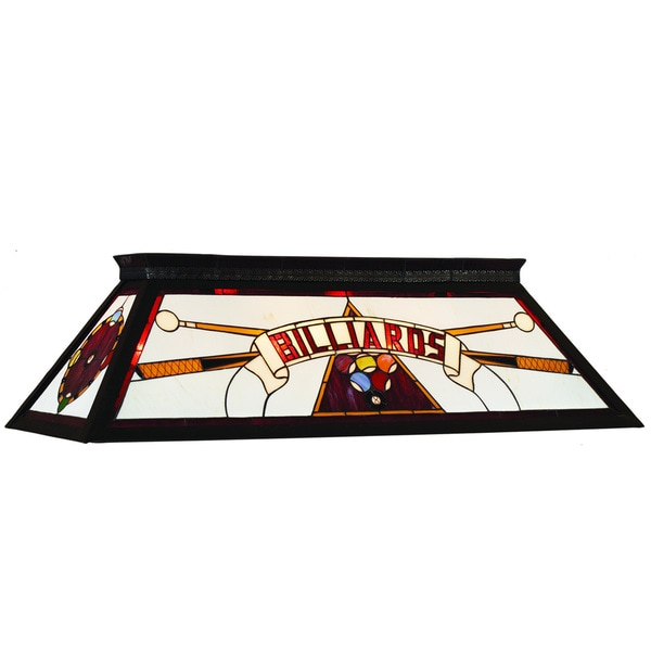 Red 4-Light Stained Glass Billiard Fixture
