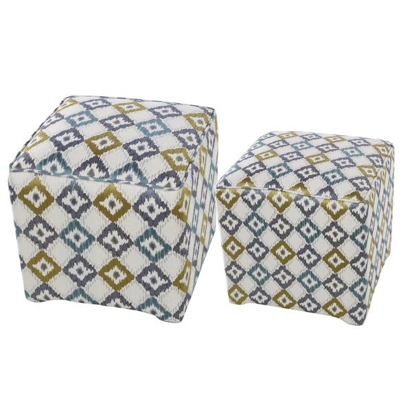 Upholstered Geometric Cube Stools
