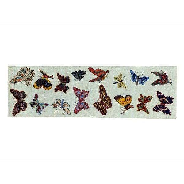 Handmade Wool Butterflies of The Amazonas Runner Rug (2'6 x 8')