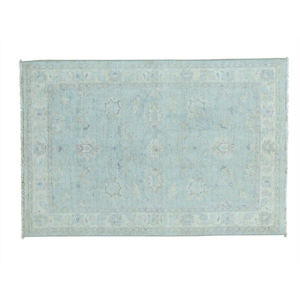 Stone Wash Peshawar Hand-knotted Wool Oriental Rug (4'2 x 6'2)