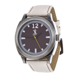 Brooklyn Exchange Men's Silver Case and Black Dial / Beige Leather Strap Watch