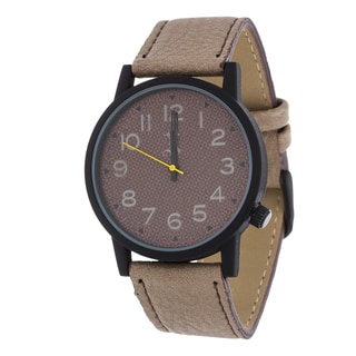 Brooklyn Exchange Men's Black Case and Brown Dial / Grey Leather Strap Watch