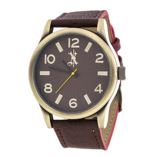 Brooklyn Exchange Men's Gold Case and Brown Dial / Brown Leather Strap Watch