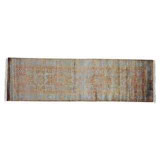 Hand-knotted Bamboo Silk Mamluk Oriental Runner Rug (3' x 9'10)