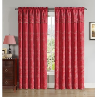 VCNY Mercury Embroidered on Jacquard Curtain Panel with Attached Valance