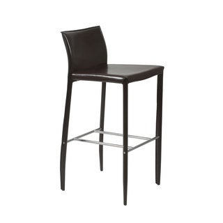 Shen-B Brown Leather Bar Stool (Set of 2)