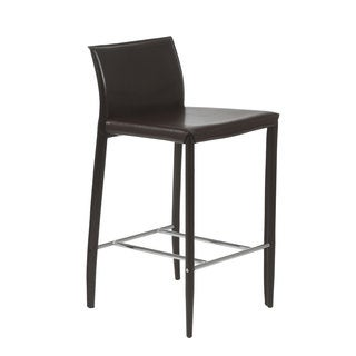 Shen-C Brown Leather Counter Stool (Set of 2)