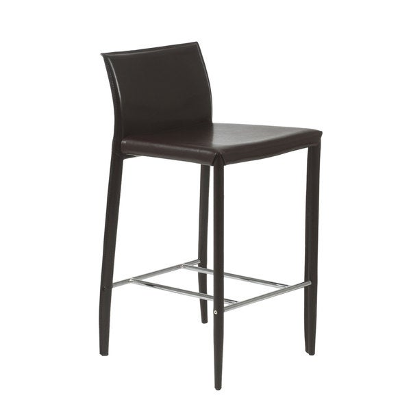 Shen C Brown Leather Counter Stool Set Of 2 18146321