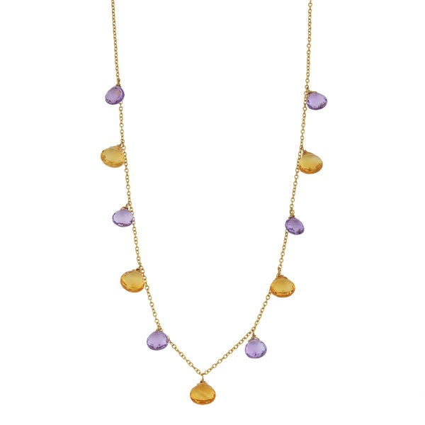 Fremada 14k Yellow Gold Amethyst and Citrine Briolette Cleopatra Necklace (16 inches)