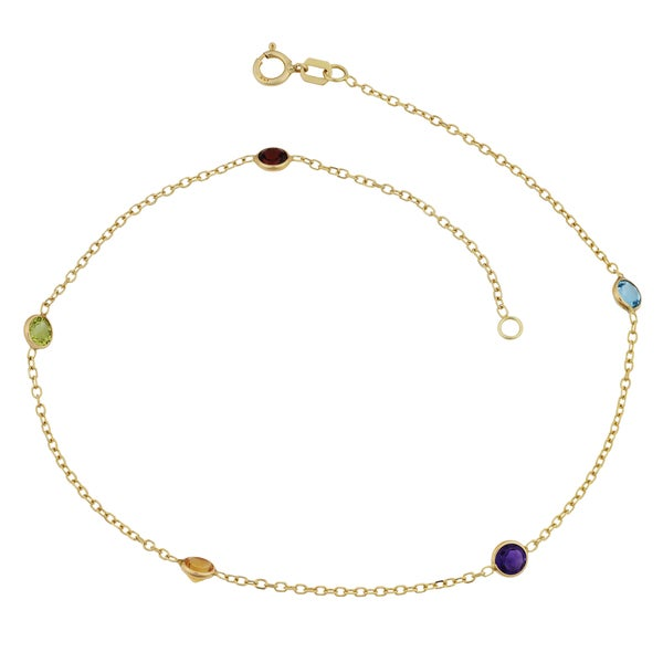 Fremada 14k Yellow Gold Semi Precious Stones Station Anklet (10 inches)