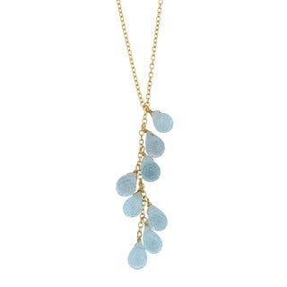 Fremada 14k Yellow Gold Blue Topaz Briolette Drop Lariat Necklace (16 inches)