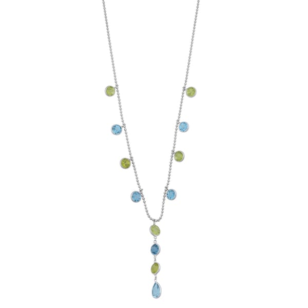 Fremada 14k White Gold Peridot and Blue Topaz Drop Necklace (16 inches)