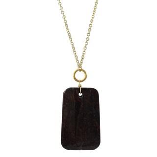 Gold Finish Poppy Jasper Cabochon Semi-precious Gemstone Necklace