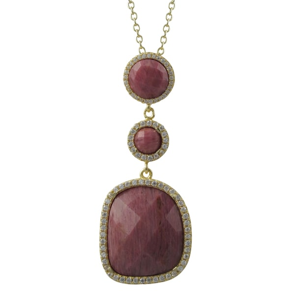 Gold Finish Sterling Silver Semi-precious Gemstone Pendant Necklace