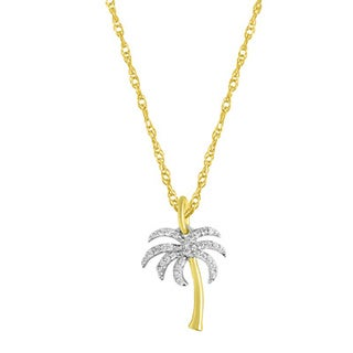 10k Goldplated Silver 1/10ct TDW Palm Tree Pendant Necklace (H-I, I2-I3)