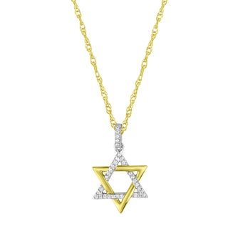 10k Two-tone Gold over Silver 1/10ct TDW Diamond Star of David Pendant Necklace (H-I, I2-I3)