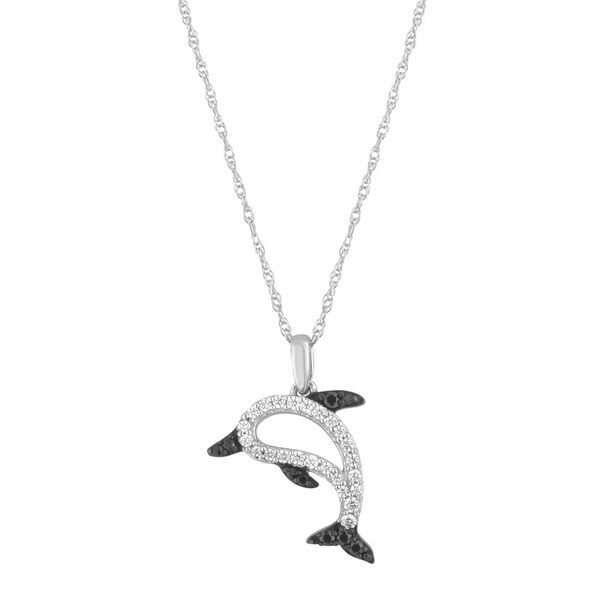 Sterling Silver 1/6ct TDW White and Black Diamond Dolphin Pendant Necklace (H-I, I2-I3)