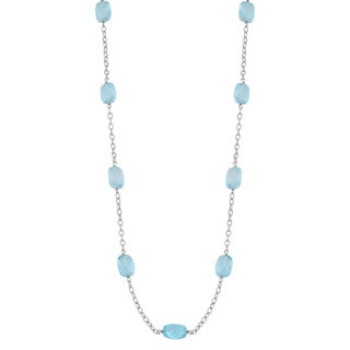 Fremada 14k White Gold Blue Topaz Station Necklace (18 inches)
