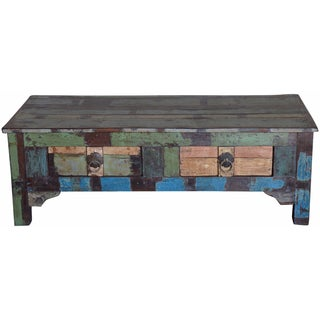 Porter Orissa Hand-painted Reclaimed Wood 2-drawer Coffee Table (India)