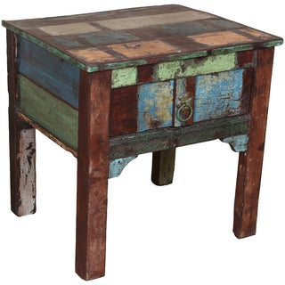 Porter Orissa Reclaimed Wood 1-drawer Side Table (India)