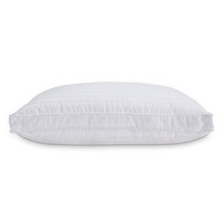 Fusion Standard White 300 Thread Count Dobby Stripe Down and Memory Foam Layer Pillow (Set of 2)