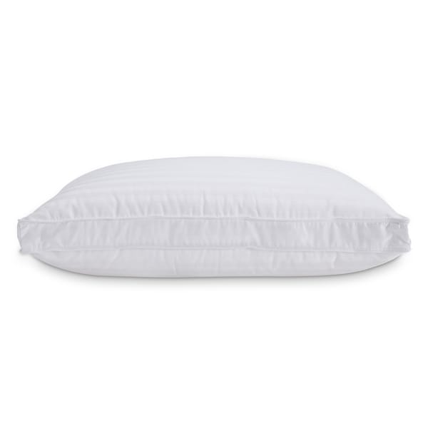 Standard White 300 Thread Count Dobby Stripe Down and Memory Foam Layer Pillow (Set of 2)