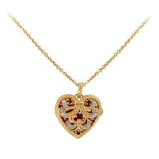 Sonia Bitton 14k Yellow Gold Diamond Accent and Ruby Necklace (I-J, SI1-SI2)