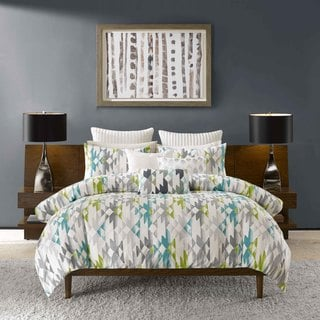 INK+IVY Sierra Green and Grey Duvet Cover 3-piece Set