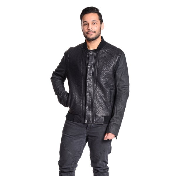 Excelled Men's Faux Leather with Denim Sleeves Varsity Jacket 17206299
