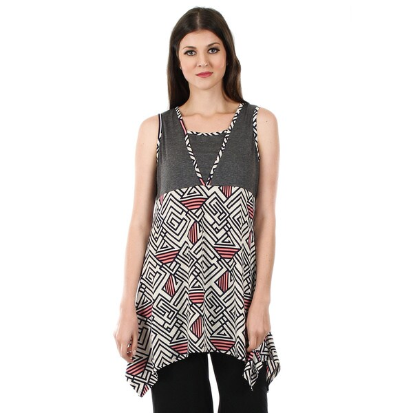 Firmiana Women's Sleeveless Grey and Pink Geometric Side Tail Tunic