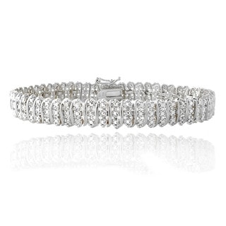 DB Designs Silvertone 1/10Ct TDW Diamond S Pattern Tennis Bracelet