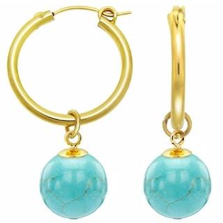 DaVonna 24k Yellow Gold over Silver Black Onyx Hoop Dangle Earrings